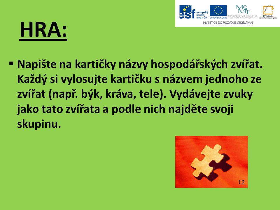 HRA:  Napište na kartičky názvy hospodářských zvířat.