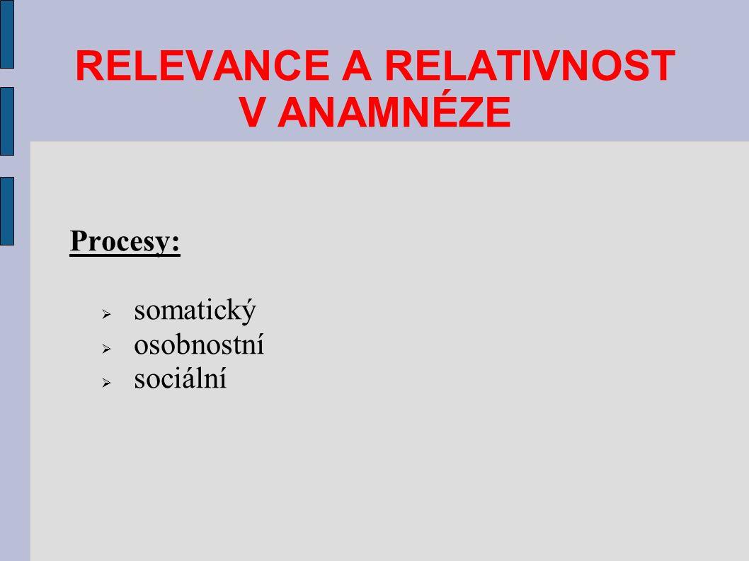 Procesy:  somatický  osobnostní  sociální RELEVANCE A RELATIVNOST V ANAMNÉZE