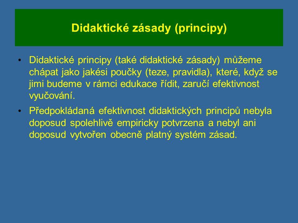Didaktické zásady (principy) Didaktické principy (také didaktické zásady) můžeme chápat jako jakési poučky (teze, pravidla), které, když se jimi budeme v rámci edukace řídit, zaručí efektivnost vyučování.