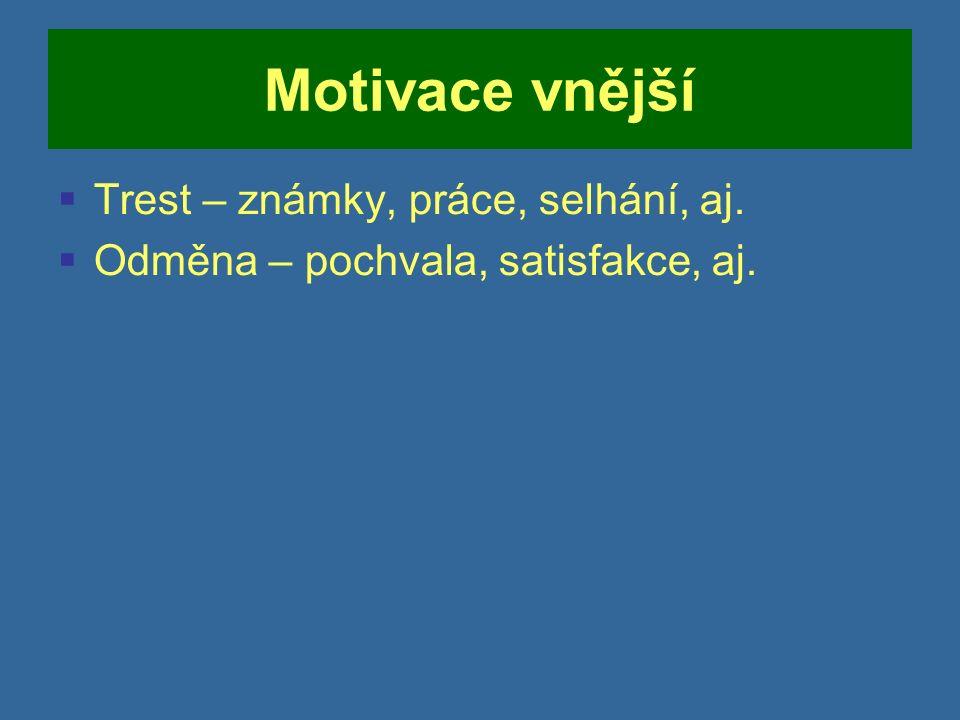 Motivace vnější  Trest – známky, práce, selhání, aj.  Odměna – pochvala, satisfakce, aj.