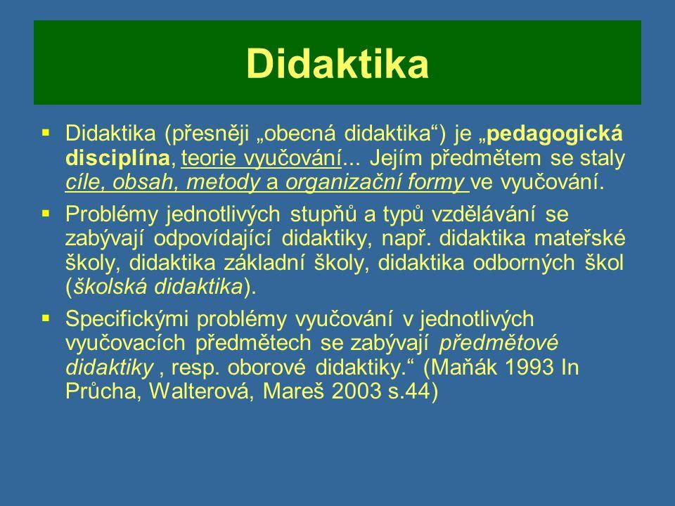 Didaktika  Dnes: Teorie vyučování  Didaktika magna – širší pojetí didaktiky  J.