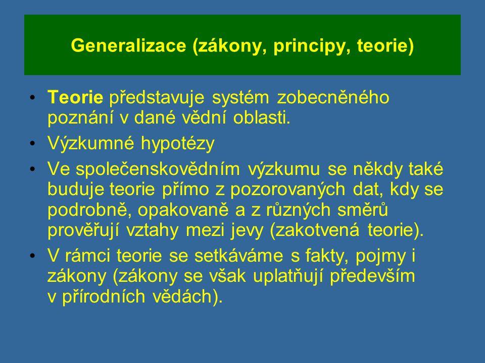 Generalizace (zákony, principy, teorie) Teorie představuje systém zobecněného poznání v dané vědní oblasti.