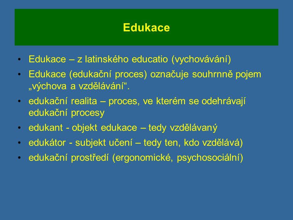 """Edukace Edukace – z latinského educatio (vychovávání) Edukace (edukační proces) označuje souhrnně pojem """"výchova a vzdělávání ."""