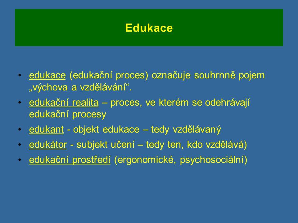 """Edukace edukace (edukační proces) označuje souhrnně pojem """"výchova a vzdělávání ."""