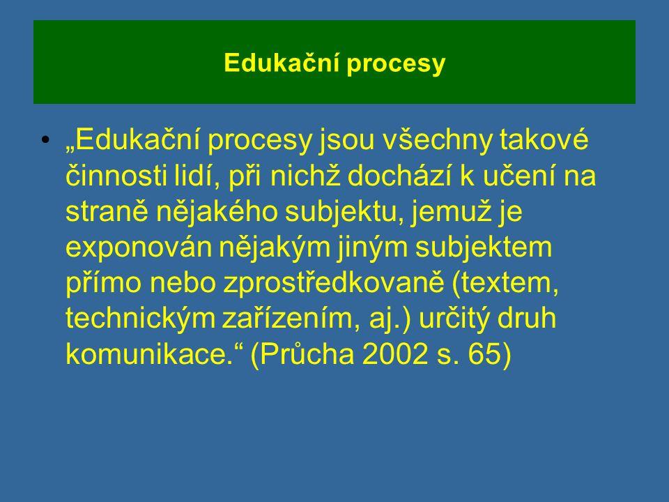 """Edukační procesy """"Edukační procesy jsou všechny takové činnosti lidí, při nichž dochází k učení na straně nějakého subjektu, jemuž je exponován nějakým jiným subjektem přímo nebo zprostředkovaně (textem, technickým zařízením, aj.) určitý druh komunikace. (Průcha 2002 s."""