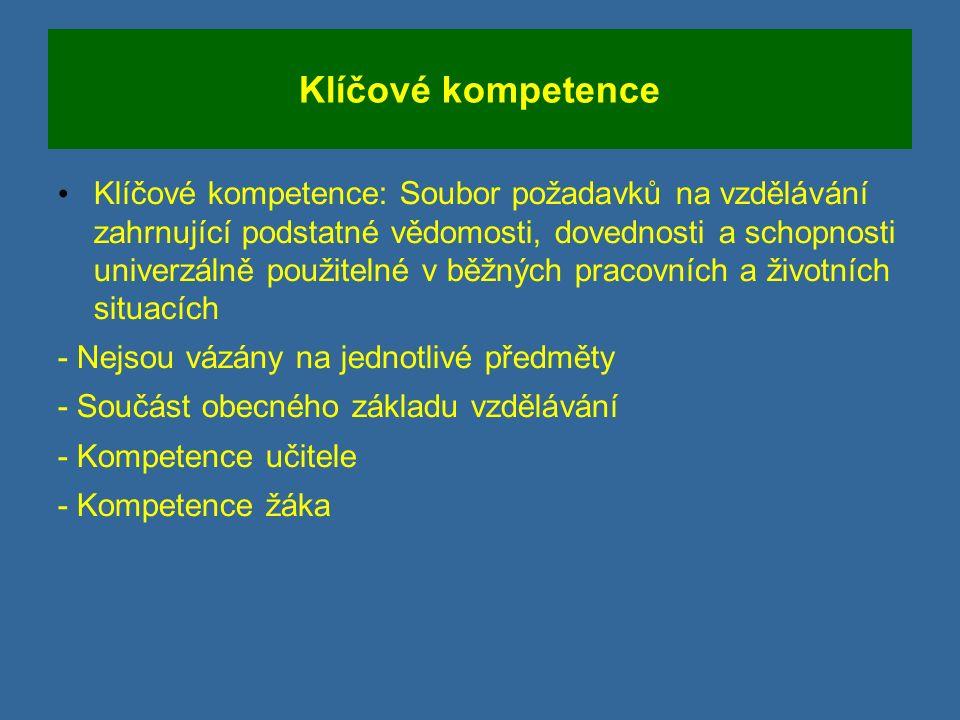 Klíčové kompetence Klíčové kompetence: Soubor požadavků na vzdělávání zahrnující podstatné vědomosti, dovednosti a schopnosti univerzálně použitelné v běžných pracovních a životních situacích - Nejsou vázány na jednotlivé předměty - Součást obecného základu vzdělávání - Kompetence učitele - Kompetence žáka
