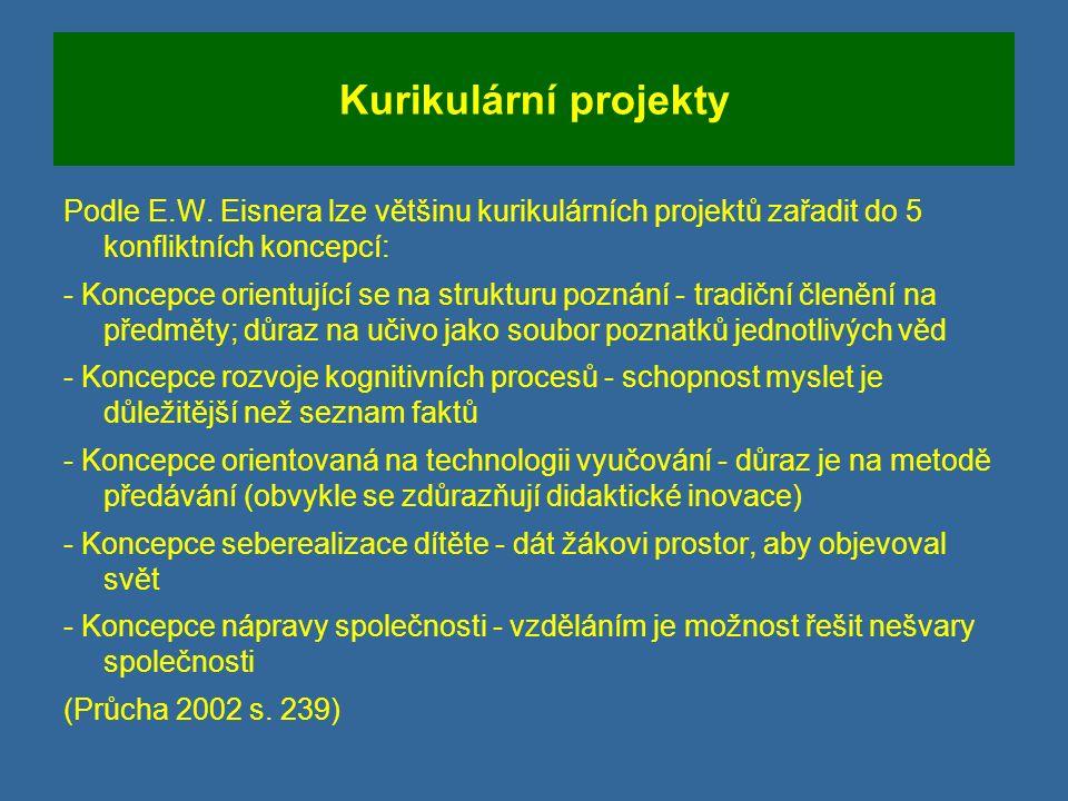 Kurikulární projekty Podle E.W.