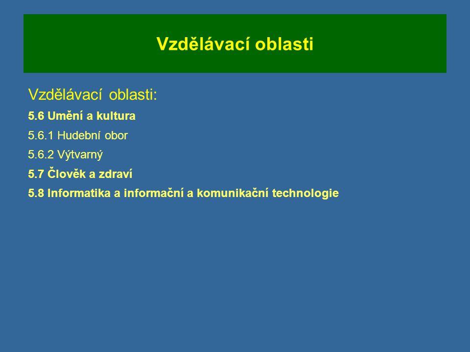 Vzdělávací oblasti Vzdělávací oblasti: 5.6 Umění a kultura 5.6.1 Hudební obor 5.6.2 Výtvarný 5.7 Člověk a zdraví 5.8 Informatika a informační a komunikační technologie