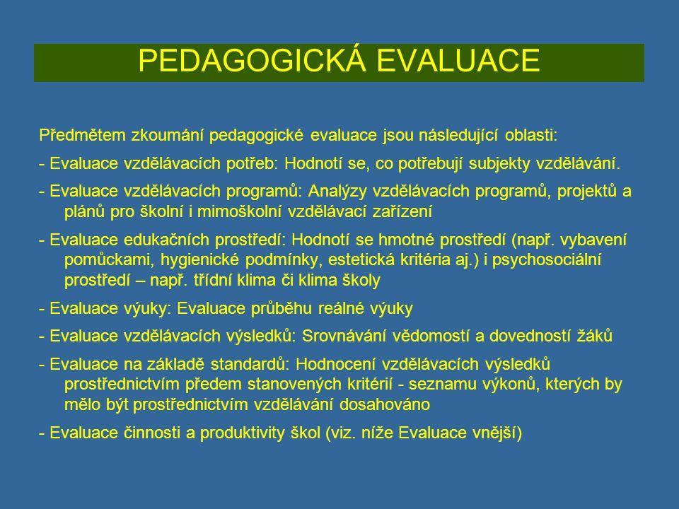 PEDAGOGICKÁ EVALUACE Předmětem zkoumání pedagogické evaluace jsou následující oblasti: - Evaluace vzdělávacích potřeb: Hodnotí se, co potřebují subjekty vzdělávání.