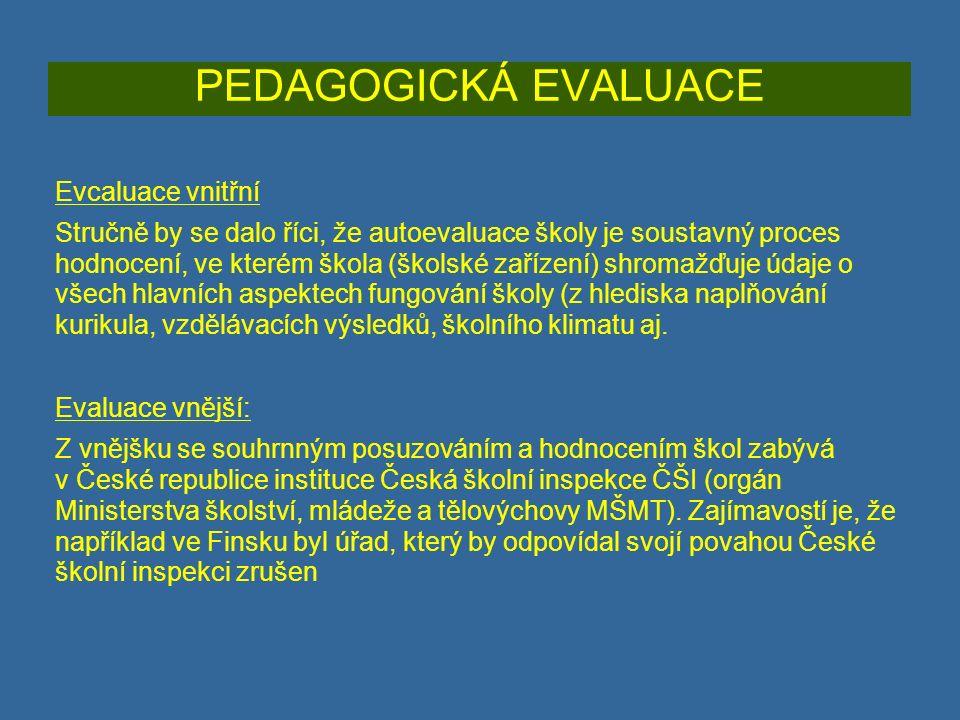 PEDAGOGICKÁ EVALUACE Evcaluace vnitřní Stručně by se dalo říci, že autoevaluace školy je soustavný proces hodnocení, ve kterém škola (školské zařízení) shromažďuje údaje o všech hlavních aspektech fungování školy (z hlediska naplňování kurikula, vzdělávacích výsledků, školního klimatu aj.