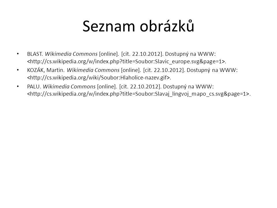 Seznam obrázků BLAST. Wikimedia Commons [online]. [cit. 22.10.2012]. Dostupný na WWW:. KOZÁK, Martin. Wikimedia Commons [online]. [cit. 22.10.2012]. D