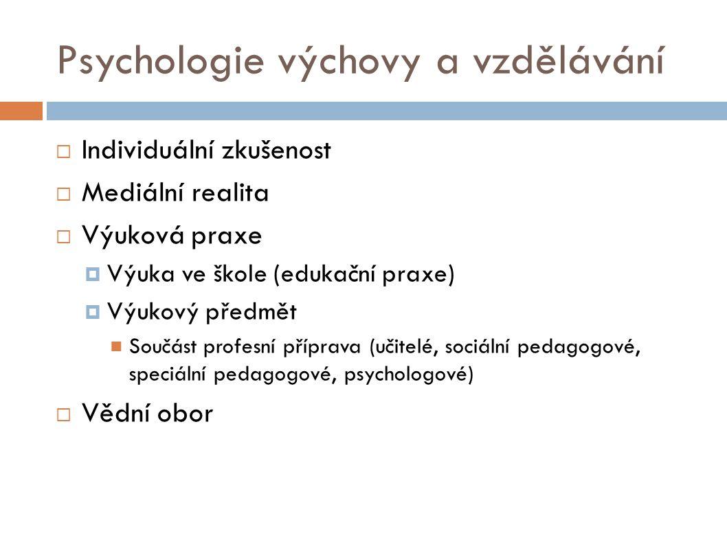 Psychologie výchovy a vzdělávání  Individuální zkušenost  Mediální realita  Výuková praxe  Výuka ve škole (edukační praxe)  Výukový předmět Součást profesní příprava (učitelé, sociální pedagogové, speciální pedagogové, psychologové)  Vědní obor