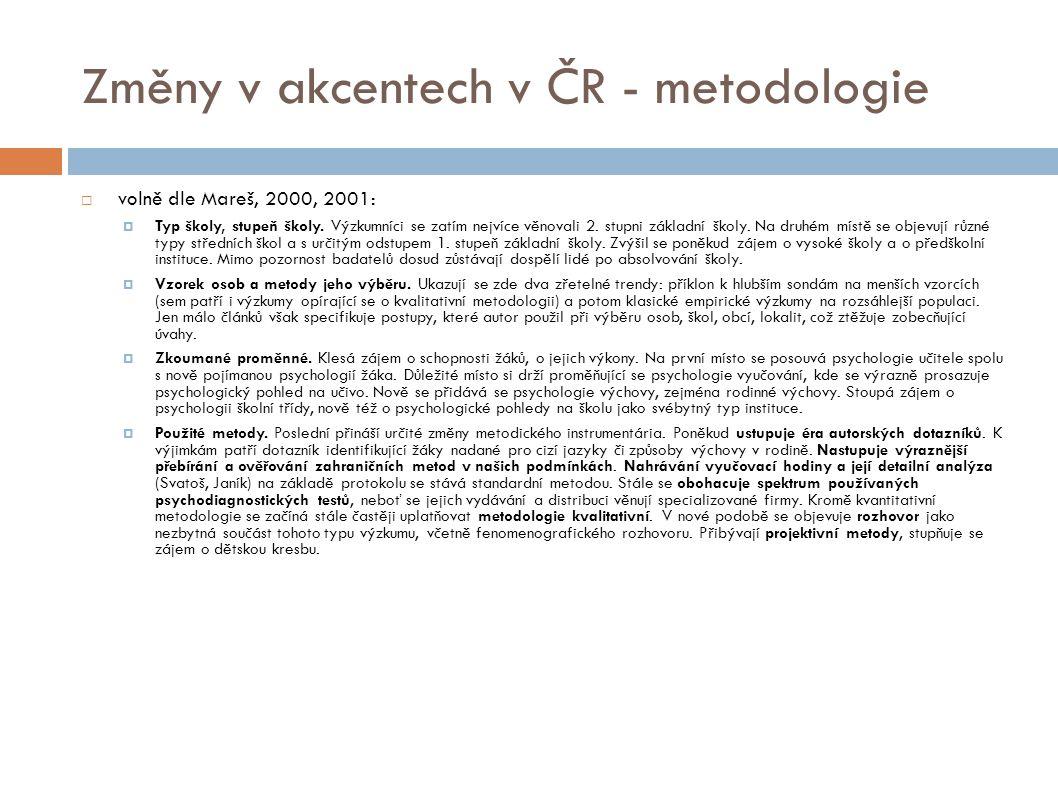 Změny v akcentech v ČR - metodologie  volně dle Mareš, 2000, 2001:  Typ školy, stupeň školy.