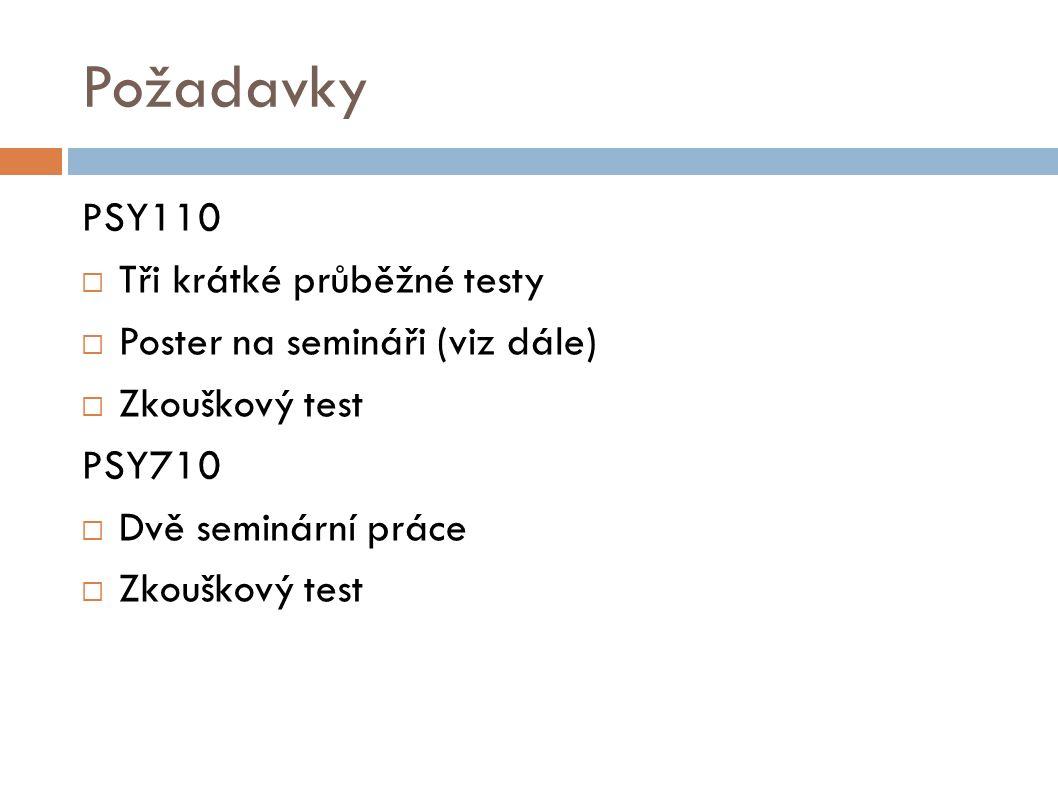 Požadavky PSY110  Tři krátké průběžné testy  Poster na semináři (viz dále)  Zkouškový test PSY710  Dvě seminární práce  Zkouškový test