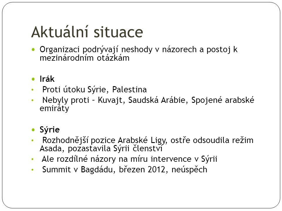 Aktuální situace Organizaci podrývají neshody v názorech a postoj k mezinárodním otázkám Irák Proti útoku Sýrie, Palestina Nebyly proti – Kuvajt, Saudská Arábie, Spojené arabské emiráty Sýrie Rozhodnější pozice Arabské Ligy, ostře odsoudila režim Asada, pozastavila Sýrii členství Ale rozdílné názory na míru intervence v Sýrii Summit v Bagdádu, březen 2012, neúspěch