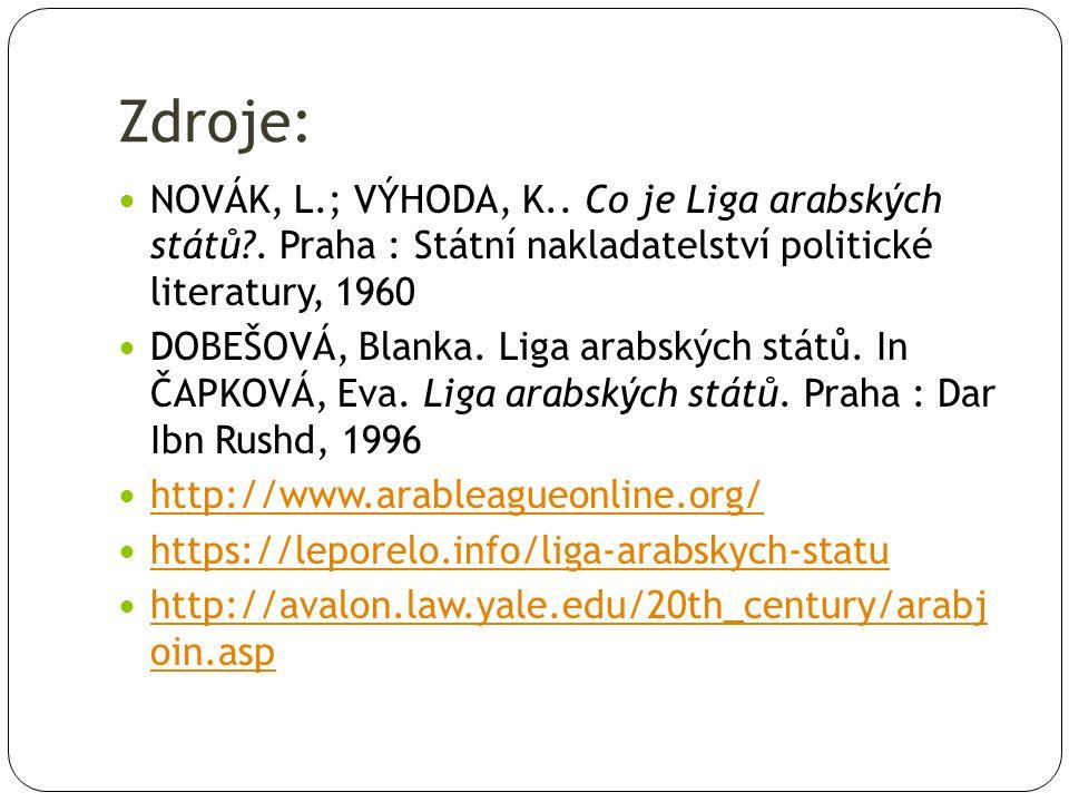 Zdroje: NOVÁK, L.; VÝHODA, K..Co je Liga arabských států?.