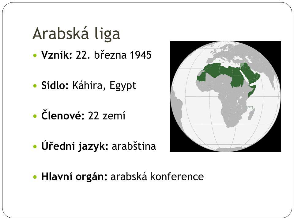 Pakt ligy arabských států Konferece 22.3.1945, Káhira Egypt, Irák, Jemen, Jordánsko, Libanon, Saúdská Arábie, Sýrie 15 článků a 3 dodatky volné seskupení států, které si ponechávají svou vlastní vnitřní i zahraniční politiku navzájem uznávají své politické režimy a nezasahují si do vnitřních záležitostí