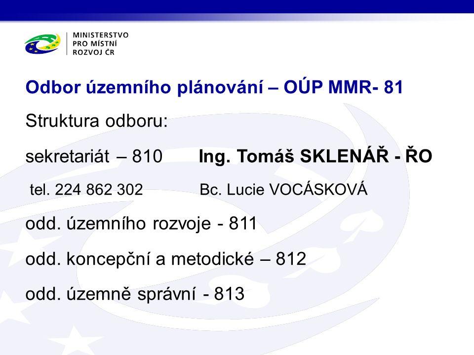 Struktura odboru: sekretariát – 810 Ing. Tomáš SKLENÁŘ - ŘO tel.