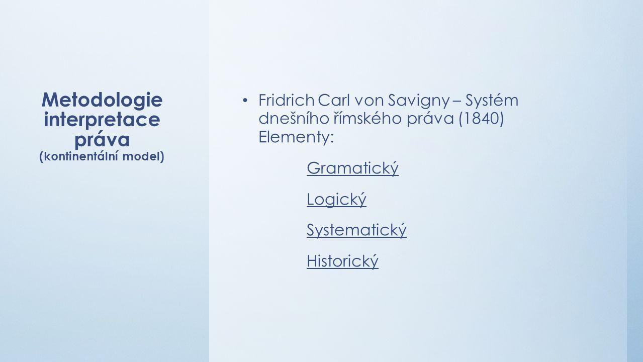 Metodologie interpretace práva (kontinentální model) Fridrich Carl von Savigny – Systém dnešního římského práva (1840) Elementy: Gramatický Logický Systematický Historický