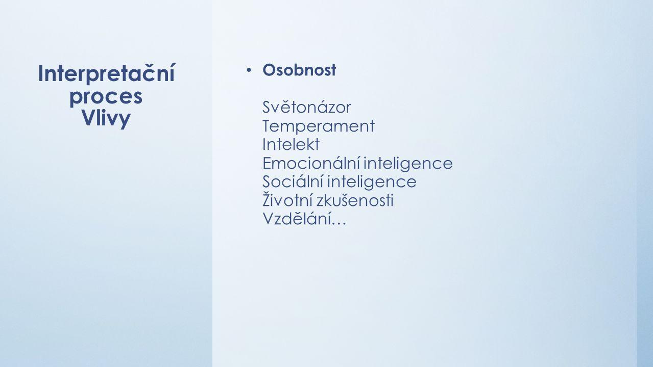 Interpretační proces Vlivy Osobnost Světonázor Temperament Intelekt Emocionální inteligence Sociální inteligence Životní zkušenosti Vzdělání…