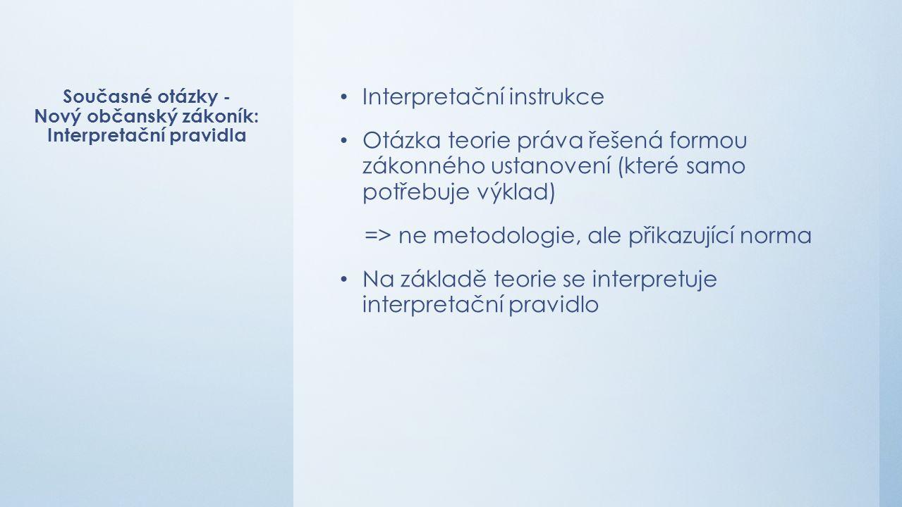 Současné otázky - Nový občanský zákoník: Interpretační pravidla Interpretační instrukce Otázka teorie práva řešená formou zákonného ustanovení (které samo potřebuje výklad) => ne metodologie, ale přikazující norma Na základě teorie se interpretuje interpretační pravidlo