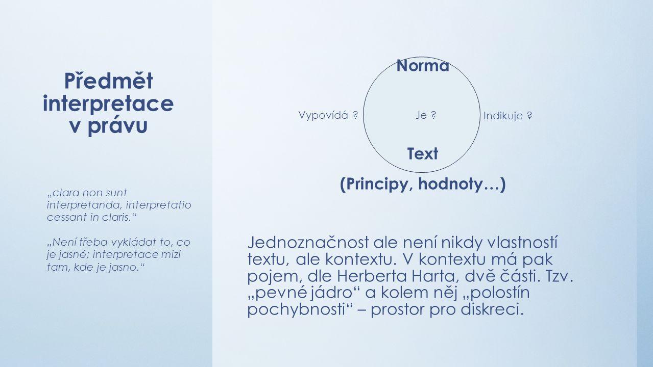 Předmět interpretace v právu Norma Text (Principy, hodnoty…) Jednoznačnost ale není nikdy vlastností textu, ale kontextu.