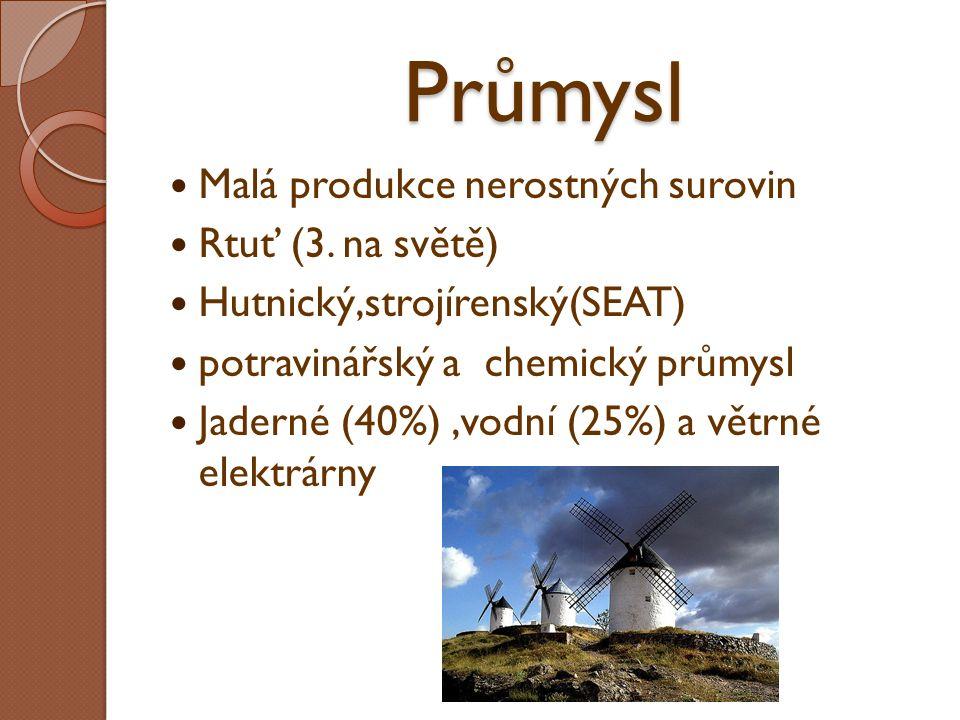 Průmysl Malá produkce nerostných surovin Rtuť (3. na světě) Hutnický,strojírenský(SEAT) potravinářský a chemický průmysl Jaderné (40%),vodní (25%) a v