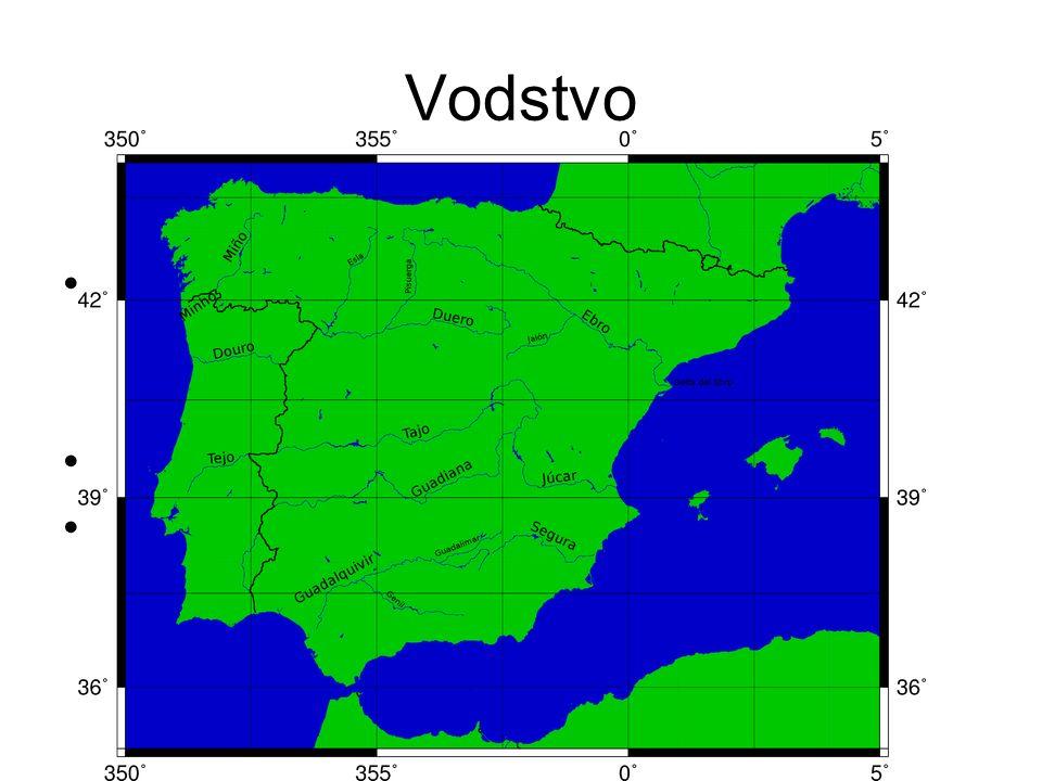 Nejdelší řeka Pyrenejského poloostrova je Tajo (1038 km, z toho 716 km ve Španělsku )řekaTajo Nejdelší řeka na španělském území je Ebro (910 km).