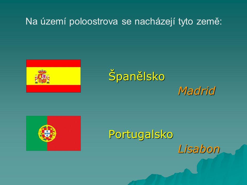 Na území poloostrova se nacházejí tyto země: Španělsko Španělsko Madrid Madrid Portugalsko Portugalsko Lisabon Lisabon