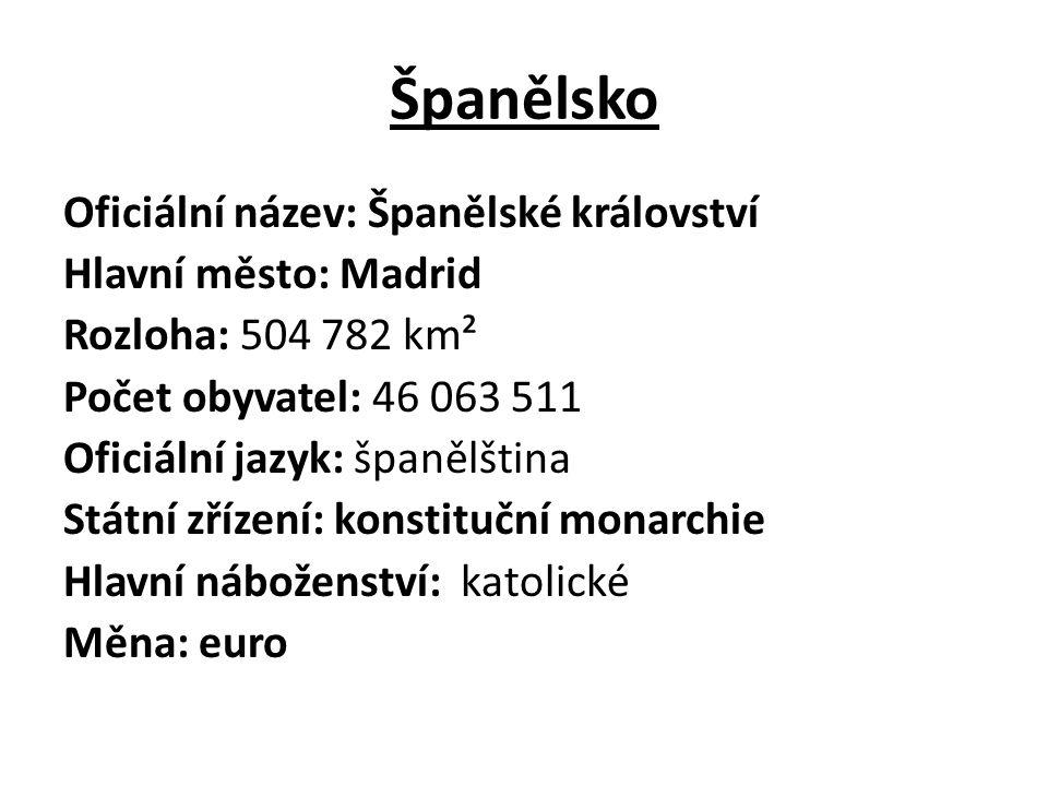 Španělsko Oficiální název: Španělské království Hlavní město: Madrid Rozloha: 504 782 km² Počet obyvatel: 46 063 511 Oficiální jazyk: španělština Státní zřízení: konstituční monarchie Hlavní náboženství: katolické Měna: euro
