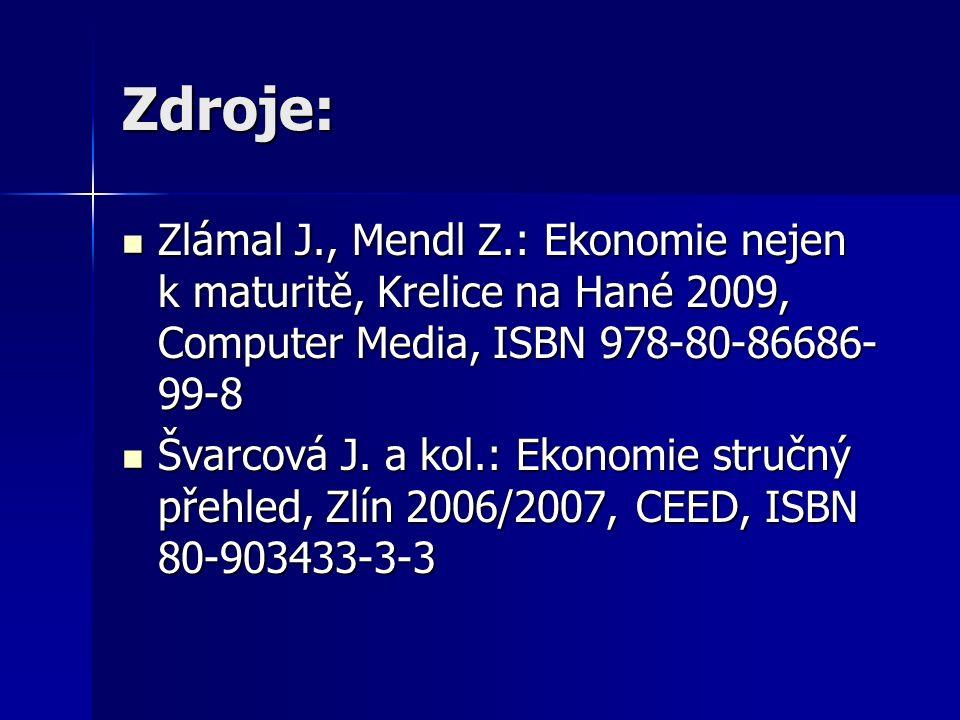 Zdroje: Zlámal J., Mendl Z.: Ekonomie nejen k maturitě, Krelice na Hané 2009, Computer Media, ISBN 978-80-86686- 99-8 Zlámal J., Mendl Z.: Ekonomie nejen k maturitě, Krelice na Hané 2009, Computer Media, ISBN 978-80-86686- 99-8 Švarcová J.