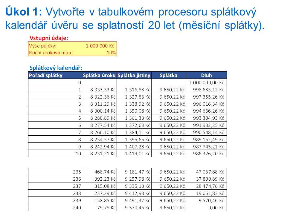Úkol 1: Vytvořte v tabulkovém procesoru splátkový kalendář úvěru se splatností 20 let (měsíční splátky).