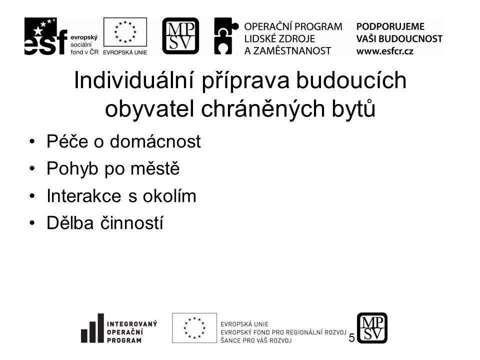 5 Individuální příprava budoucích obyvatel chráněných bytů Péče o domácnost Pohyb po městě Interakce s okolím Dělba činností