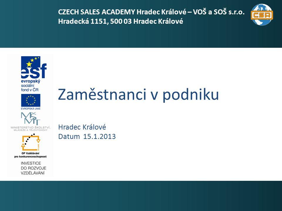 Zaměstnanci v podniku 1 Hradec Králové Datum 15.1.2013 CZECH SALES ACADEMY Hradec Králové – VOŠ a SOŠ s.r.o.
