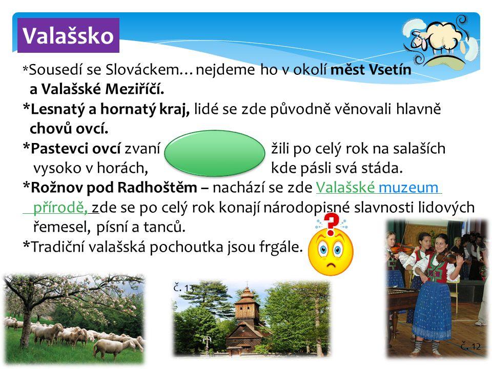 10 Valašsko * Sousedí se Slováckem…nejdeme ho v okolí měst Vsetín a Valašské Meziříčí. *Lesnatý a hornatý kraj, lidé se zde původně věnovali hlavně ch