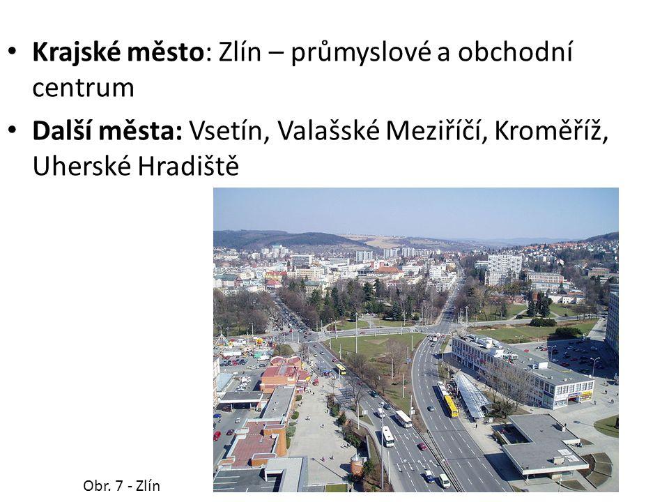 Krajské město: Zlín – průmyslové a obchodní centrum Další města: Vsetín, Valašské Meziříčí, Kroměříž, Uherské Hradiště Obr.
