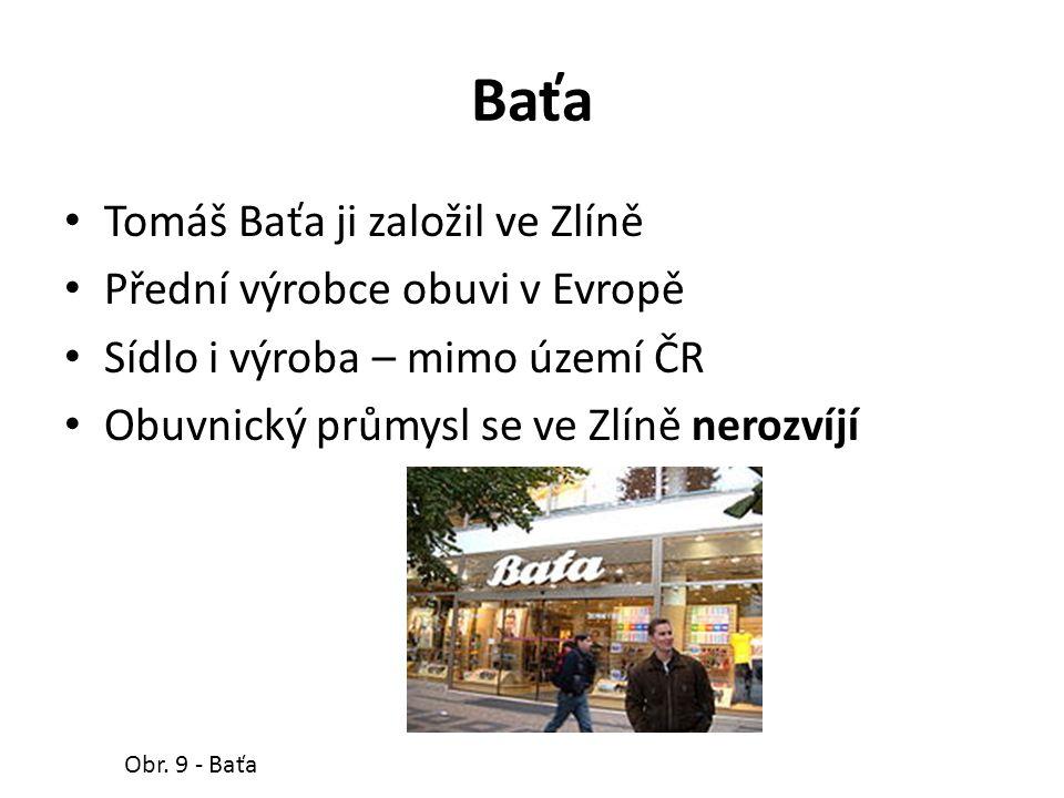 Baťa Tomáš Baťa ji založil ve Zlíně Přední výrobce obuvi v Evropě Sídlo i výroba – mimo území ČR Obuvnický průmysl se ve Zlíně nerozvíjí Obr.