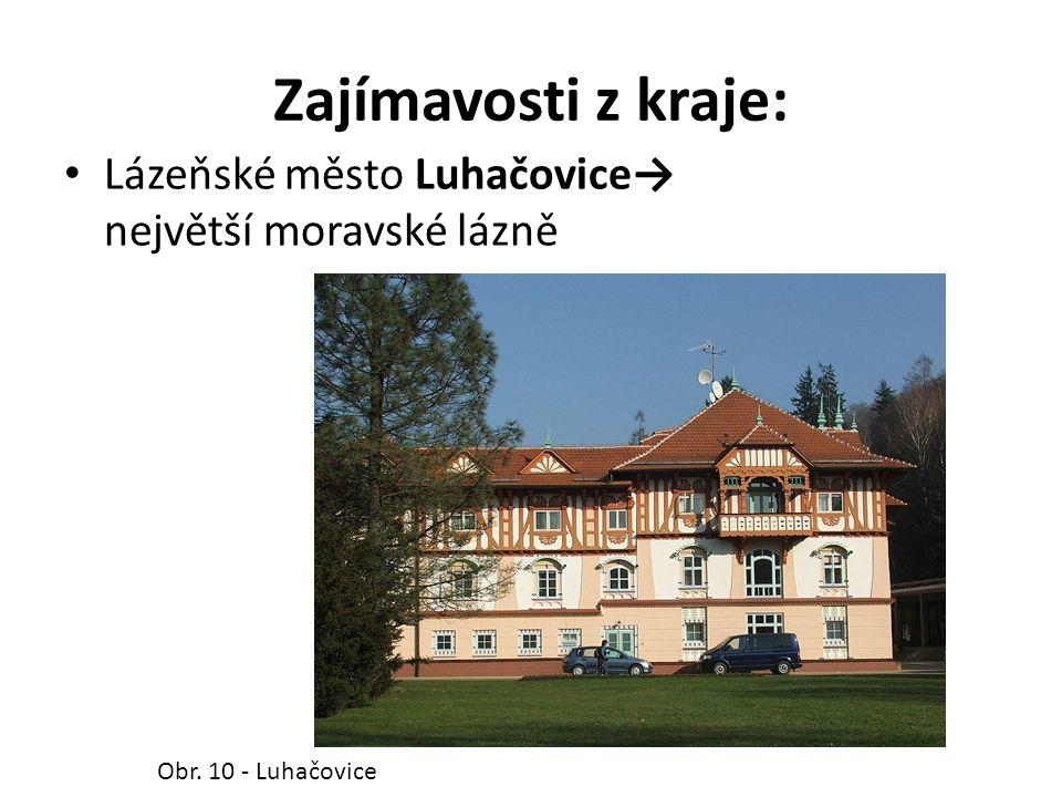 Zajímavosti z kraje: Lázeňské město Luhačovice→ největší moravské lázně Obr. 10 - Luhačovice
