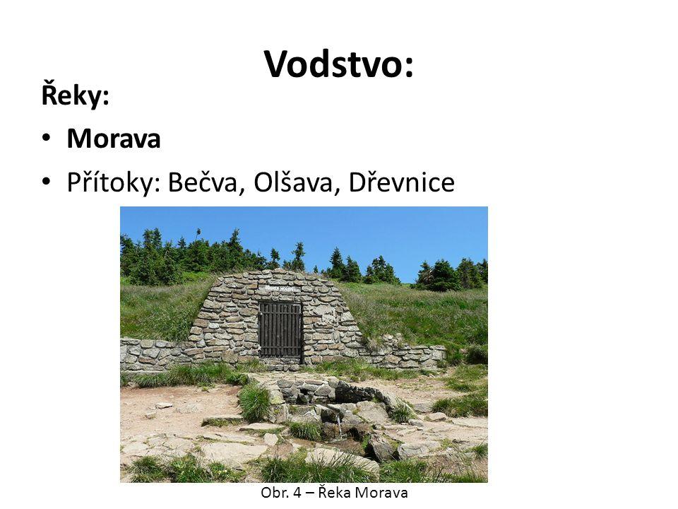 Vodstvo: Řeky: Morava Přítoky: Bečva, Olšava, Dřevnice Obr. 4 – Řeka Morava