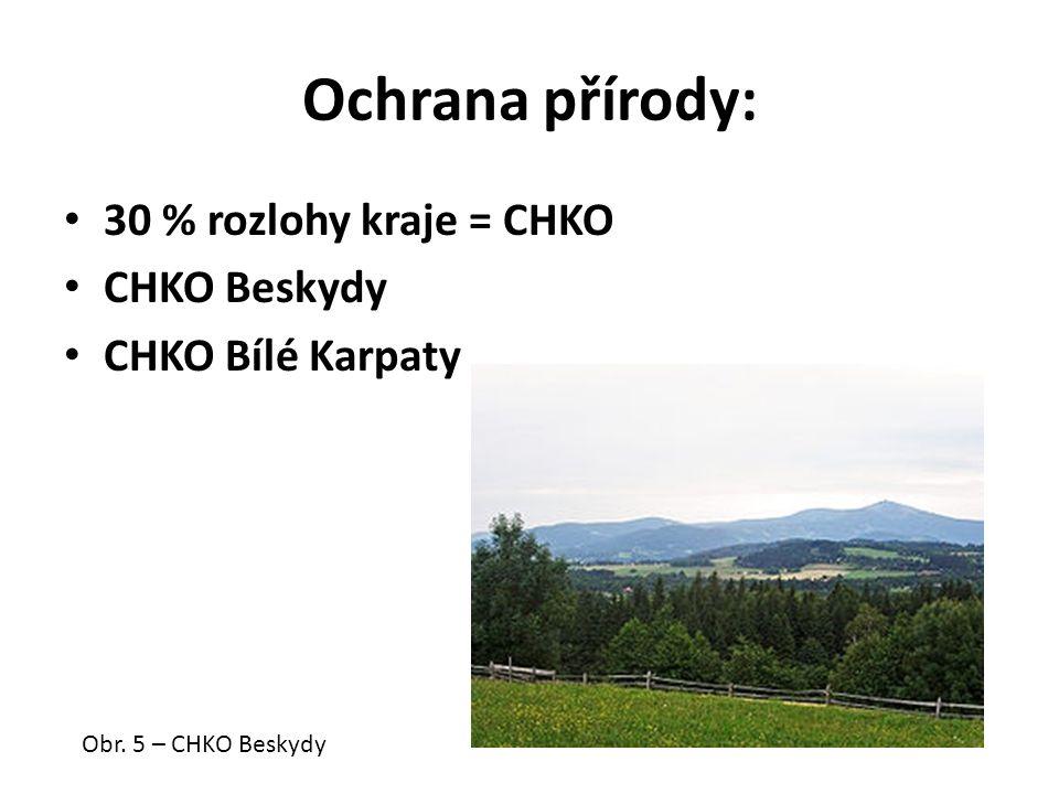 Ochrana přírody: 30 % rozlohy kraje = CHKO CHKO Beskydy CHKO Bílé Karpaty Obr. 5 – CHKO Beskydy