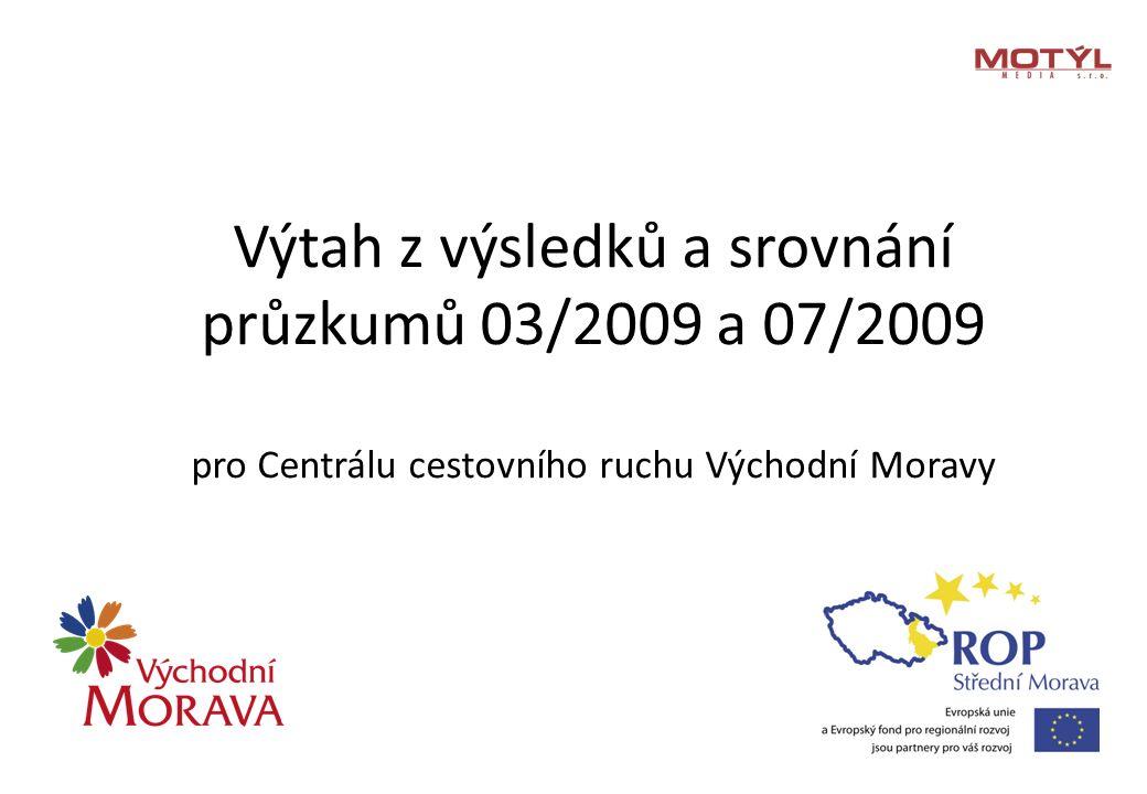Výtah z výsledků a srovnání průzkumů 03/2009 a 07/2009 pro Centrálu cestovního ruchu Východní Moravy