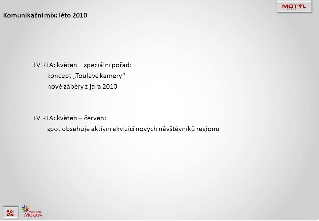 """Komunikační mix: léto 2010 TV RTA: květen – speciální pořad: koncept """"Toulavé kamery nové záběry z jara 2010 TV RTA: květen – červen: spot obsahuje aktivní akvizici nových návštěvníků regionu"""