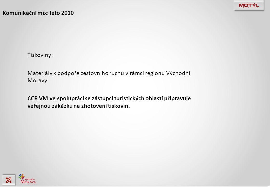 Komunikační mix: léto 2010 Tiskoviny: Materiály k podpoře cestovního ruchu v rámci regionu Východní Moravy CCR VM ve spolupráci se zástupci turistických oblastí připravuje veřejnou zakázku na zhotovení tiskovin.