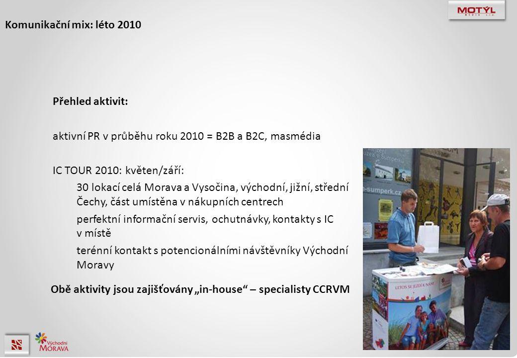 """Komunikační mix: léto 2010 Přehled aktivit: aktivní PR v průběhu roku 2010 = B2B a B2C, masmédia IC TOUR 2010: květen/září: 30 lokací celá Morava a Vysočina, východní, jižní, střední Čechy, část umístěna v nákupních centrech perfektní informační servis, ochutnávky, kontakty s IC v místě terénní kontakt s potencionálními návštěvníky Východní Moravy Obě aktivity jsou zajišťovány """"in-house – specialisty CCRVM"""