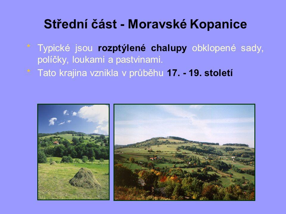 Střední část - Moravské Kopanice *Typické jsou rozptýlené chalupy obklopené sady, políčky, loukami a pastvinami. *Tato krajina vznikla v průběhu 17. -