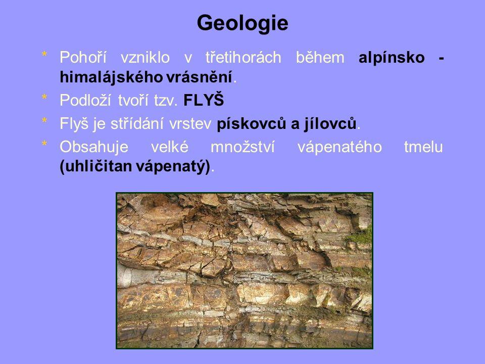 Geologie *Pohoří vzniklo v třetihorách během alpínsko - himalájského vrásnění. *Podloží tvoří tzv. FLYŠ *Flyš je střídání vrstev pískovců a jílovců. *