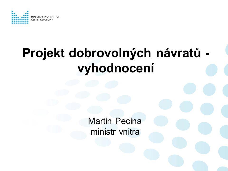 Projekt dobrovolných návratů - vyhodnocení Martin Pecina ministr vnitra