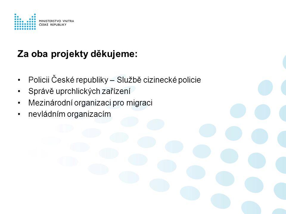 Za oba projekty děkujeme: Policii České republiky – Službě cizinecké policie Správě uprchlických zařízení Mezinárodní organizaci pro migraci nevládním organizacím