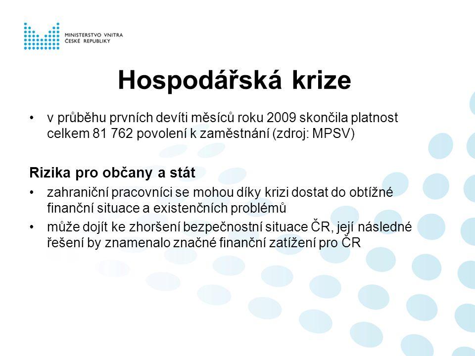 Hospodářská krize v průběhu prvních devíti měsíců roku 2009 skončila platnost celkem 81 762 povolení k zaměstnání (zdroj: MPSV) Rizika pro občany a stát zahraniční pracovníci se mohou díky krizi dostat do obtížné finanční situace a existenčních problémů může dojít ke zhoršení bezpečnostní situace ČR, její následné řešení by znamenalo značné finanční zatížení pro ČR