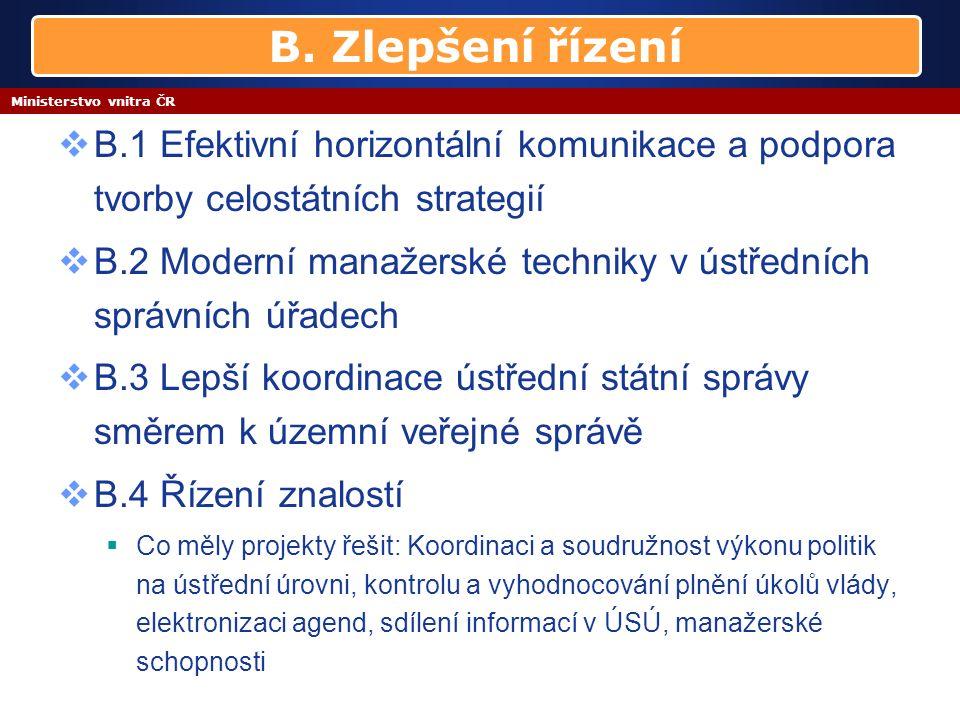Ministerstvo vnitra ČR  B.1 Efektivní horizontální komunikace a podpora tvorby celostátních strategií  B.2 Moderní manažerské techniky v ústředních správních úřadech  B.3 Lepší koordinace ústřední státní správy směrem k územní veřejné správě  B.4 Řízení znalostí  Co měly projekty řešit: Koordinaci a soudružnost výkonu politik na ústřední úrovni, kontrolu a vyhodnocování plnění úkolů vlády, elektronizaci agend, sdílení informací v ÚSÚ, manažerské schopnosti B.